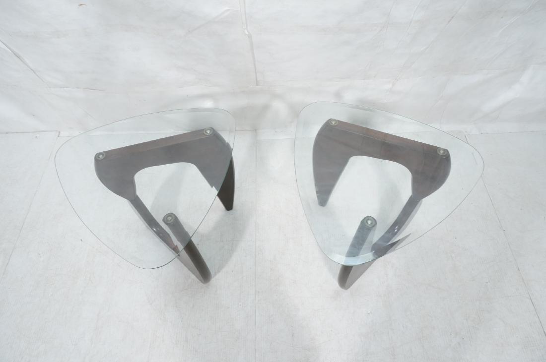 Pr ISAMU NOGUCHI Style Glass top Side Tables. Hin - 10