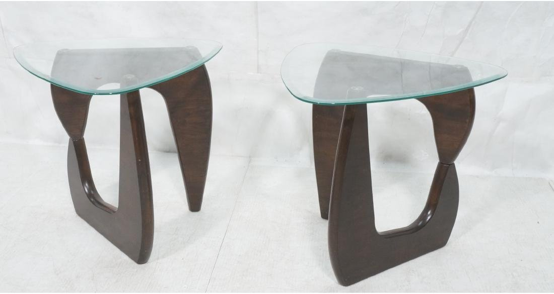 Pr ISAMU NOGUCHI Style Glass top Side Tables. Hin
