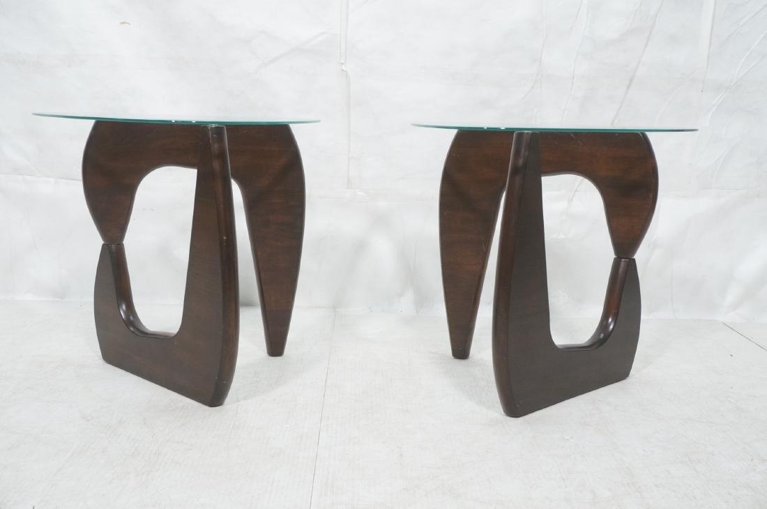 Pr ISAMU NOGUCHI Style Glass top Side Tables. Hin - 2