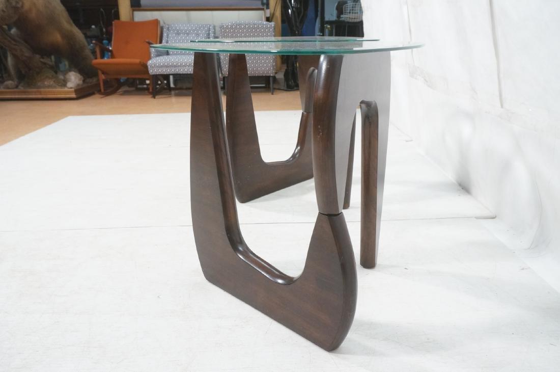 Pr ISAMU NOGUCHI Style Glass top Side Tables. Hin - 3