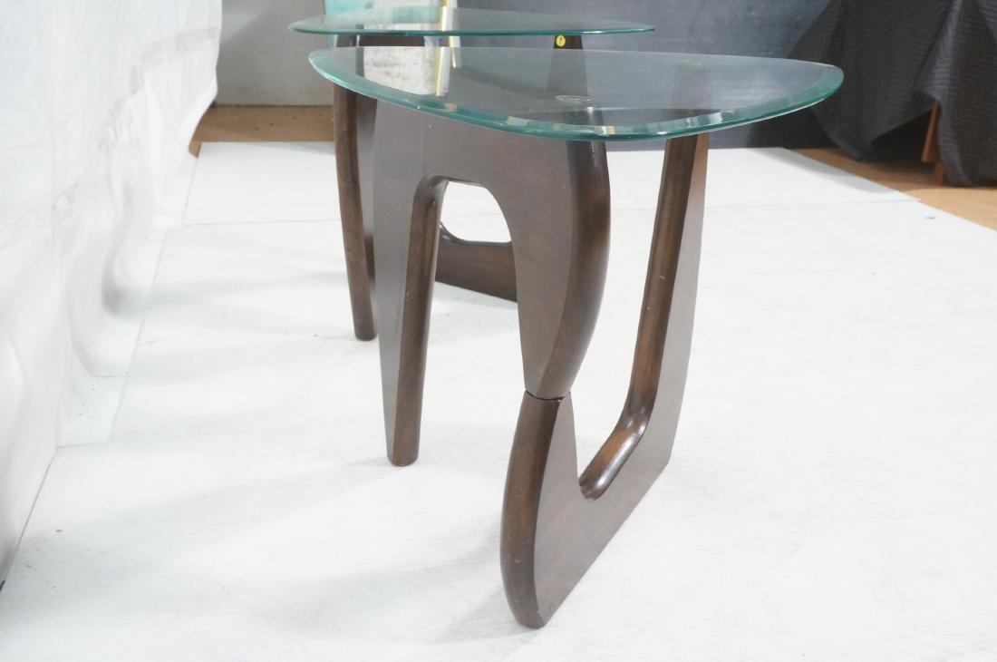 Pr ISAMU NOGUCHI Style Glass top Side Tables. Hin - 4