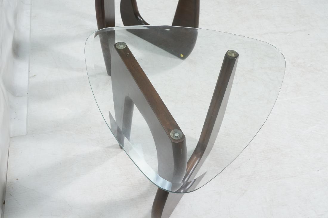 Pr ISAMU NOGUCHI Style Glass top Side Tables. Hin - 5
