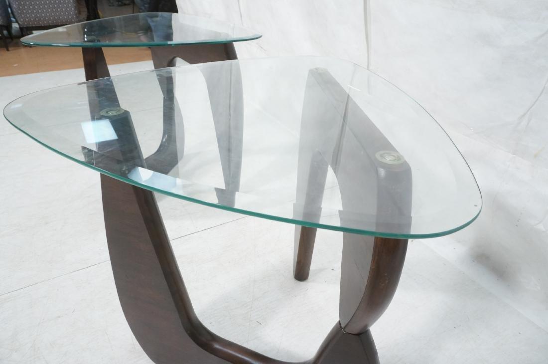 Pr ISAMU NOGUCHI Style Glass top Side Tables. Hin - 9