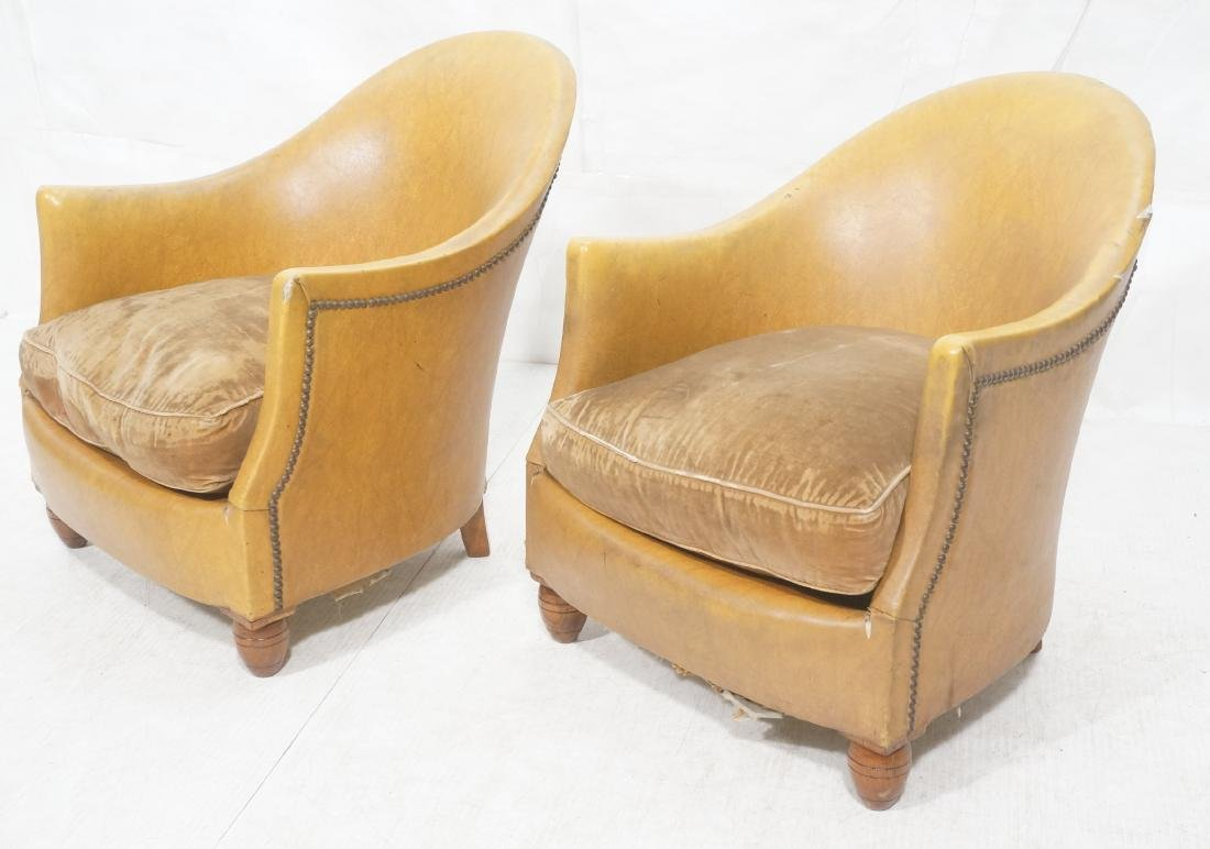 Pr Art Deco Era Brown Vinyl Club Lounge Chairs. F