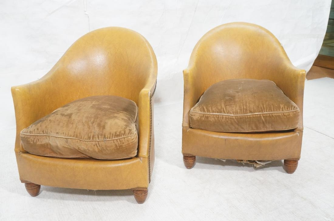 Pr Art Deco Era Brown Vinyl Club Lounge Chairs. F - 2