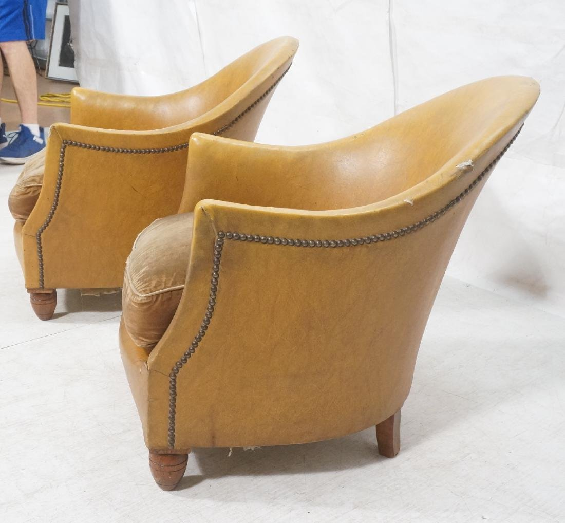Pr Art Deco Era Brown Vinyl Club Lounge Chairs. F - 3