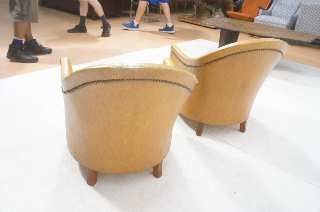 Pr Art Deco Era Brown Vinyl Club Lounge Chairs. F - 4