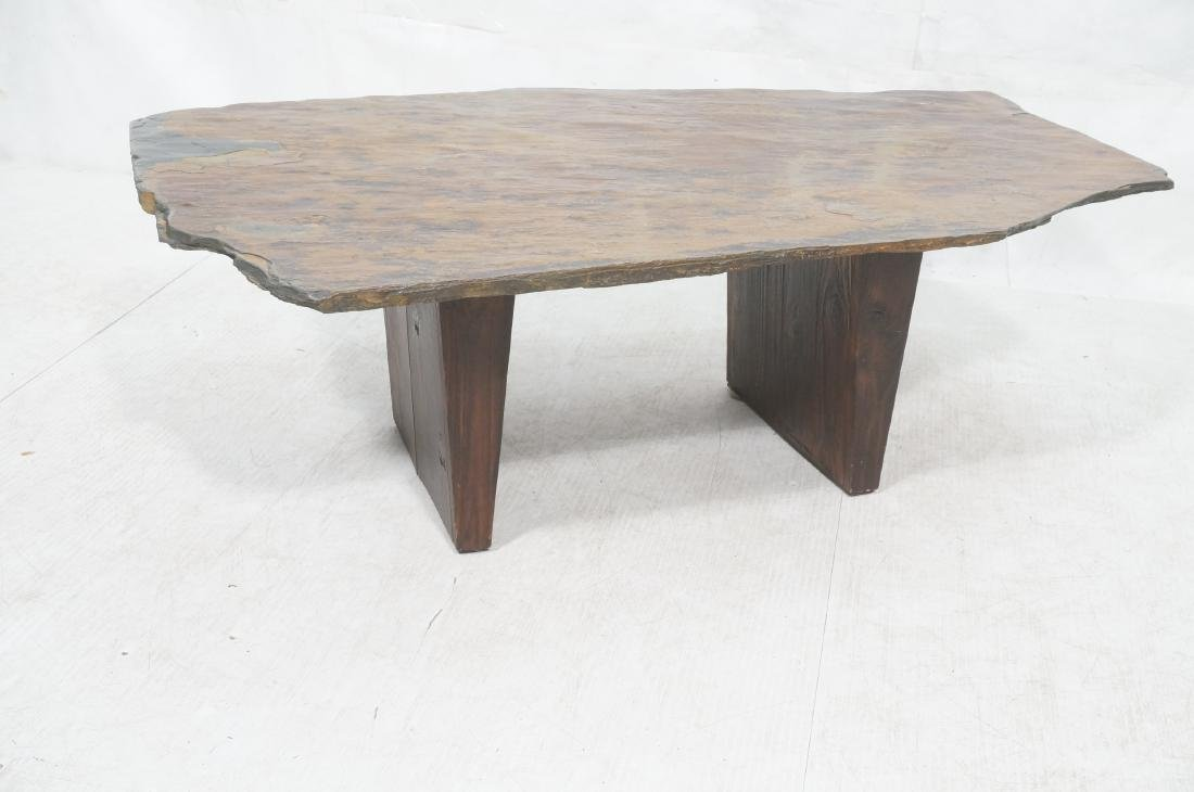 Modernist Slate Top Cocktail Coffee Table. Wedge