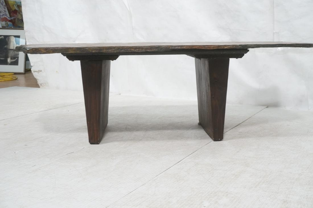 Modernist Slate Top Cocktail Coffee Table. Wedge - 2