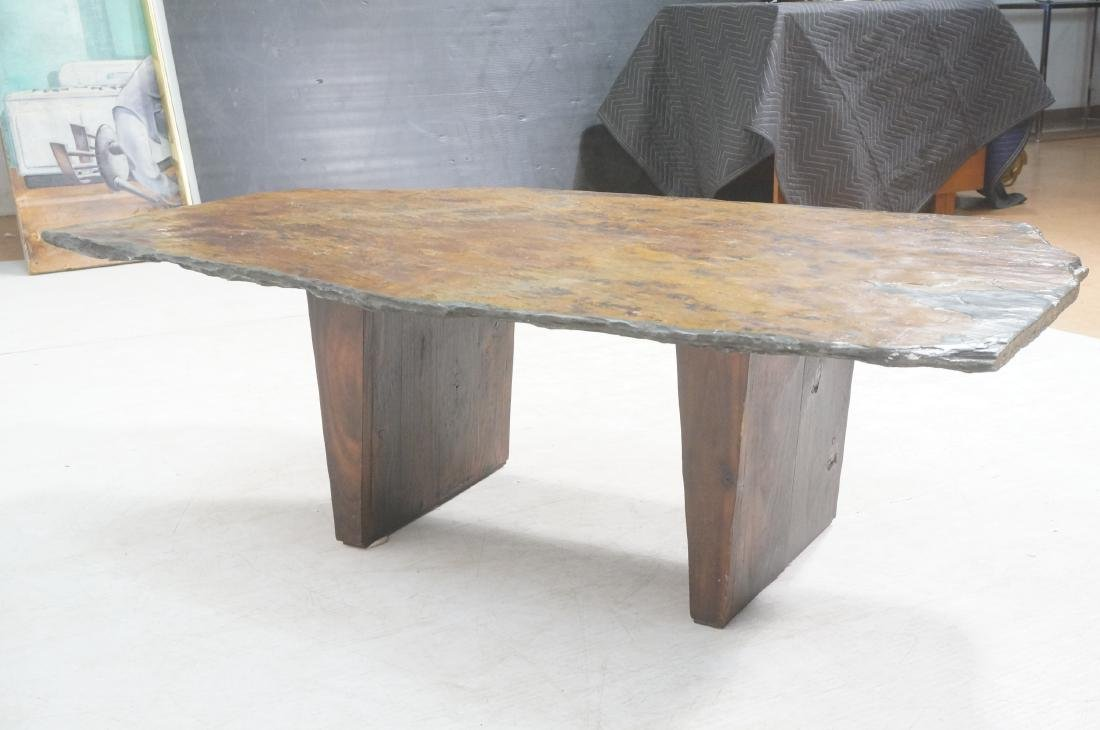 Modernist Slate Top Cocktail Coffee Table. Wedge - 5