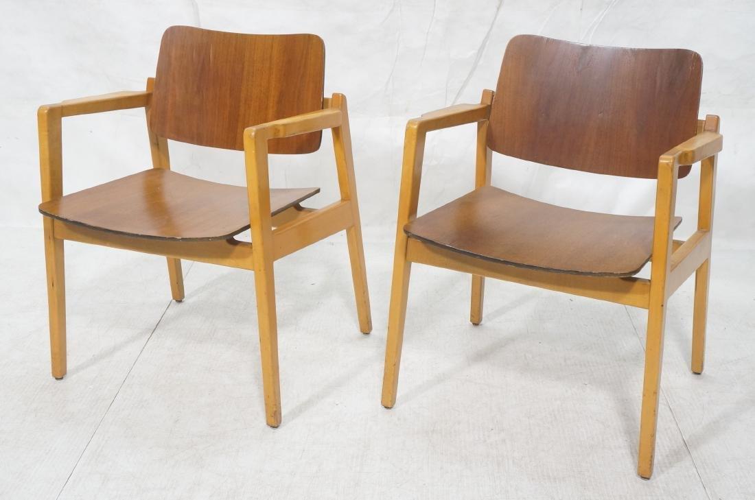 Pr JENS RISOM Modernist Walnut Arm Lounge Chairs.