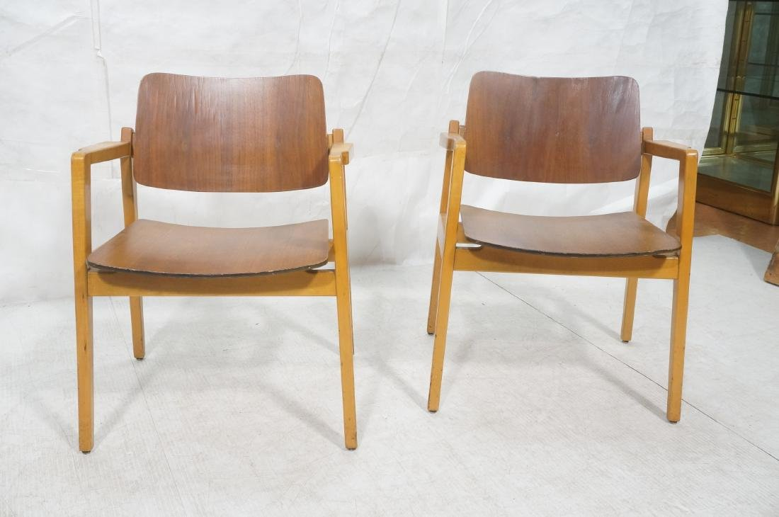 Pr JENS RISOM Modernist Walnut Arm Lounge Chairs. - 2
