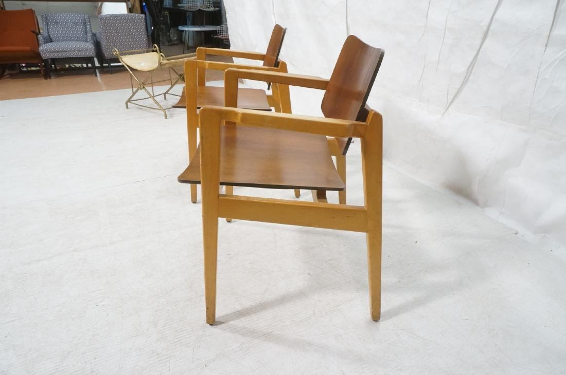 Pr JENS RISOM Modernist Walnut Arm Lounge Chairs. - 3