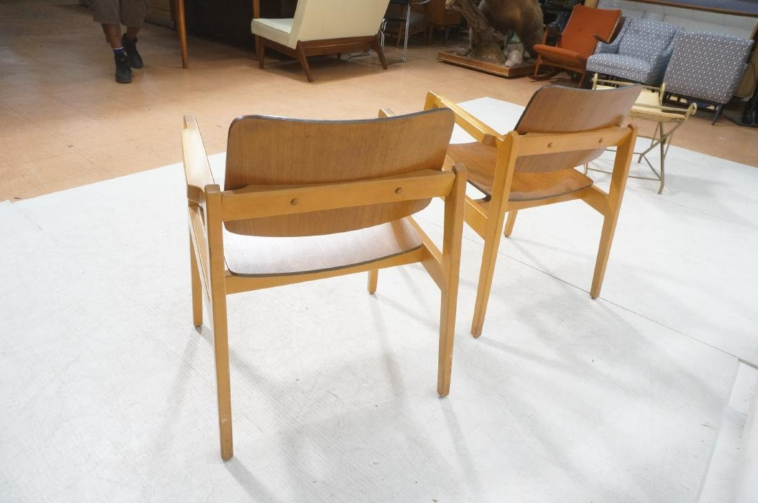 Pr JENS RISOM Modernist Walnut Arm Lounge Chairs. - 4