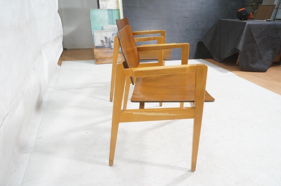 Pr JENS RISOM Modernist Walnut Arm Lounge Chairs. - 5