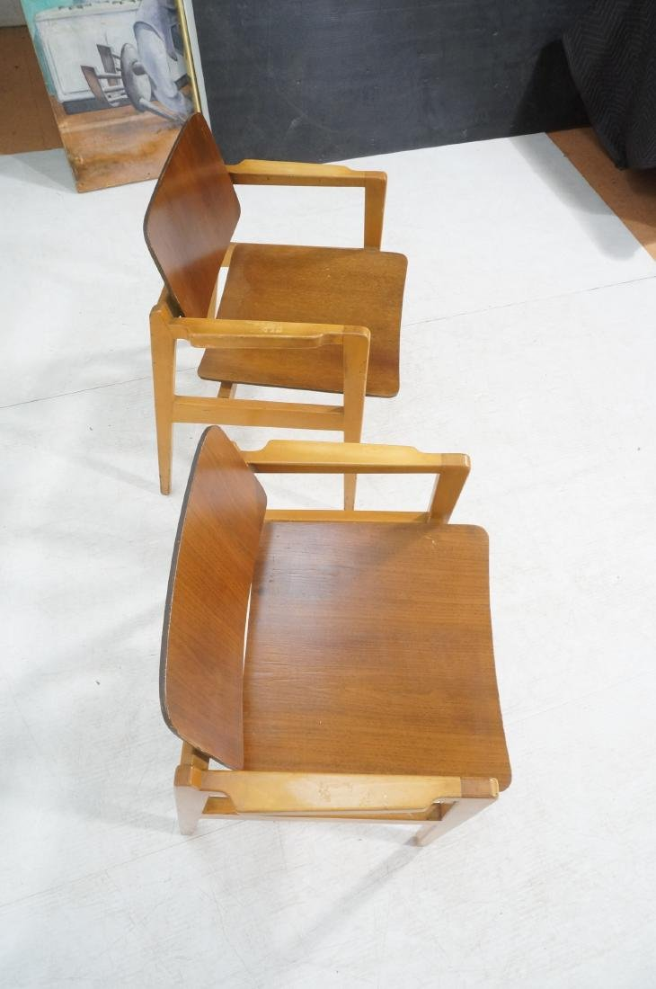 Pr JENS RISOM Modernist Walnut Arm Lounge Chairs. - 6