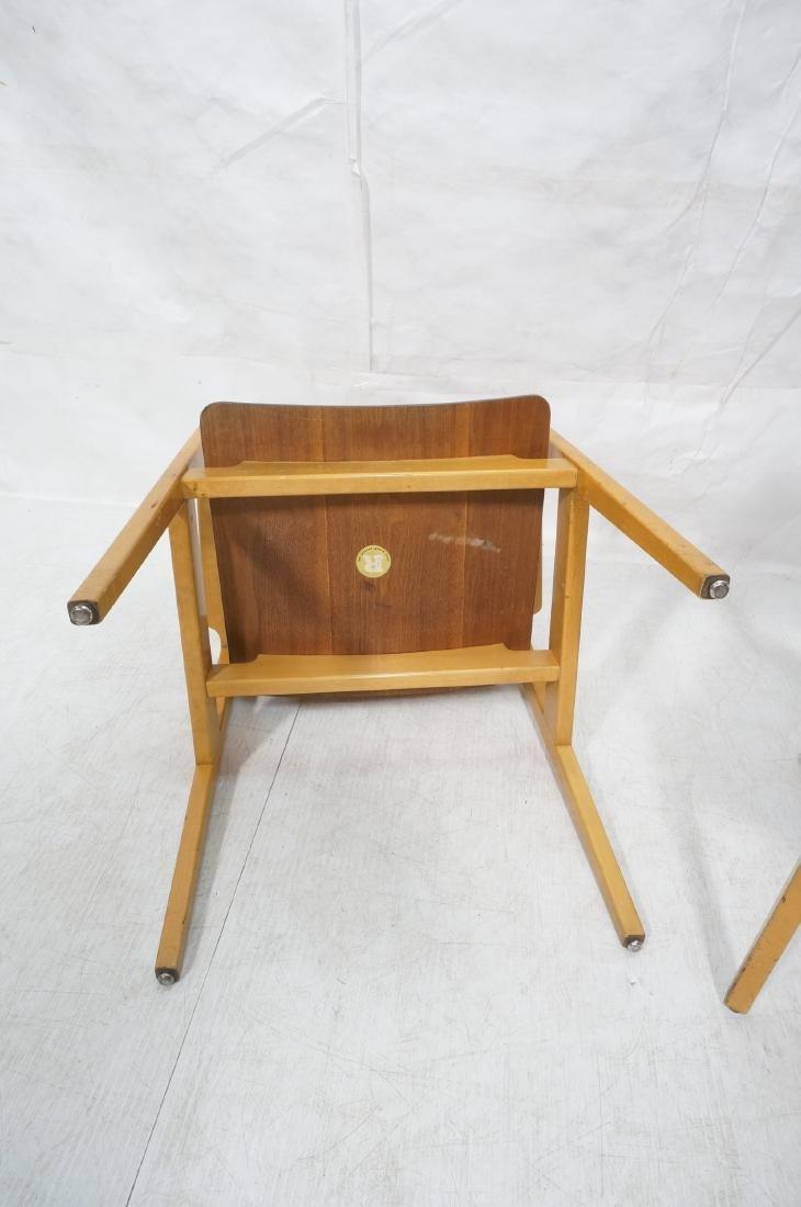 Pr JENS RISOM Modernist Walnut Arm Lounge Chairs. - 8