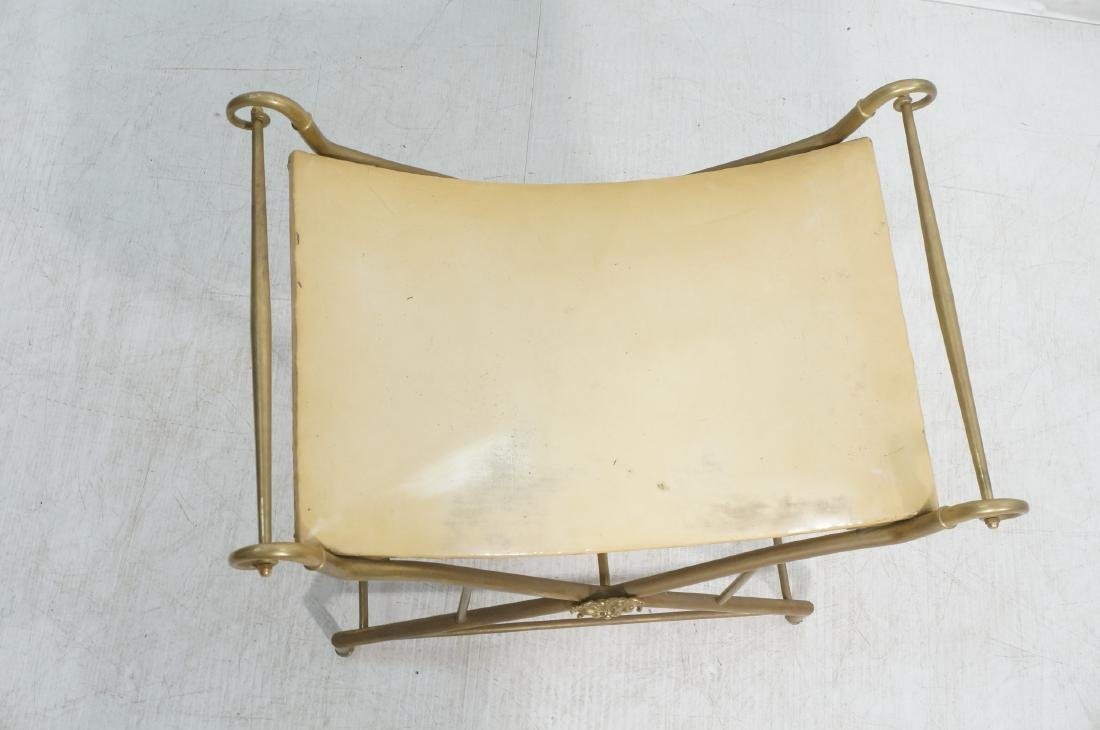 Regency Style Brass Foot Stool Bench X base with - 3