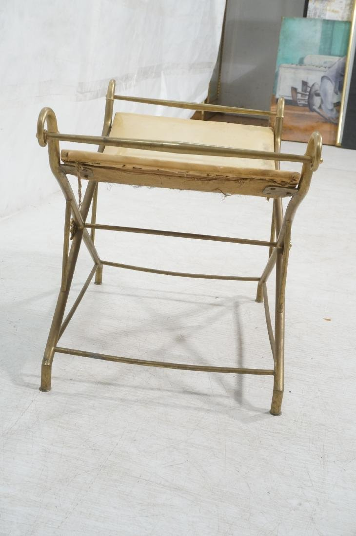 Regency Style Brass Foot Stool Bench X base with - 4