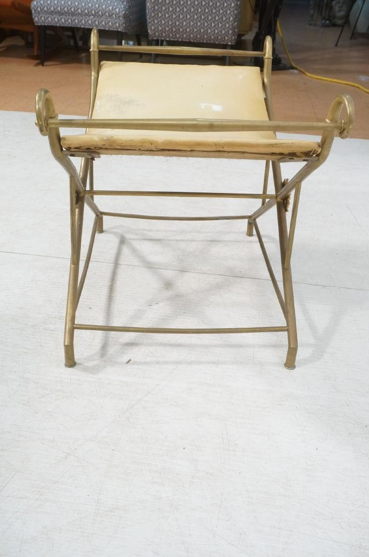 Regency Style Brass Foot Stool Bench X base with - 6
