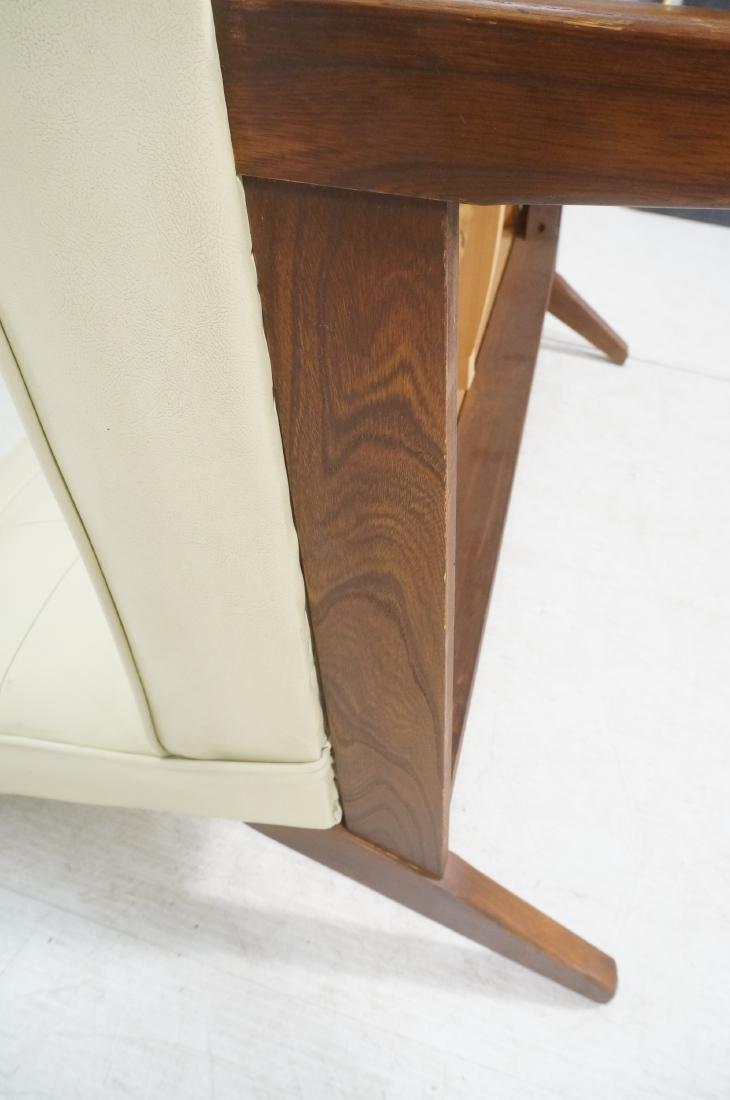 Off White Modernist Vinyl Walnut Bench Love Seat. - 10