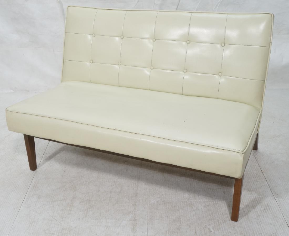 Off White Modernist Vinyl Walnut Bench Love Seat.