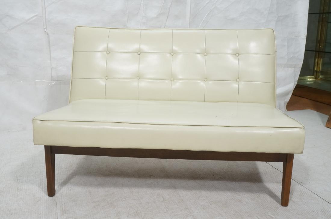 Off White Modernist Vinyl Walnut Bench Love Seat. - 2