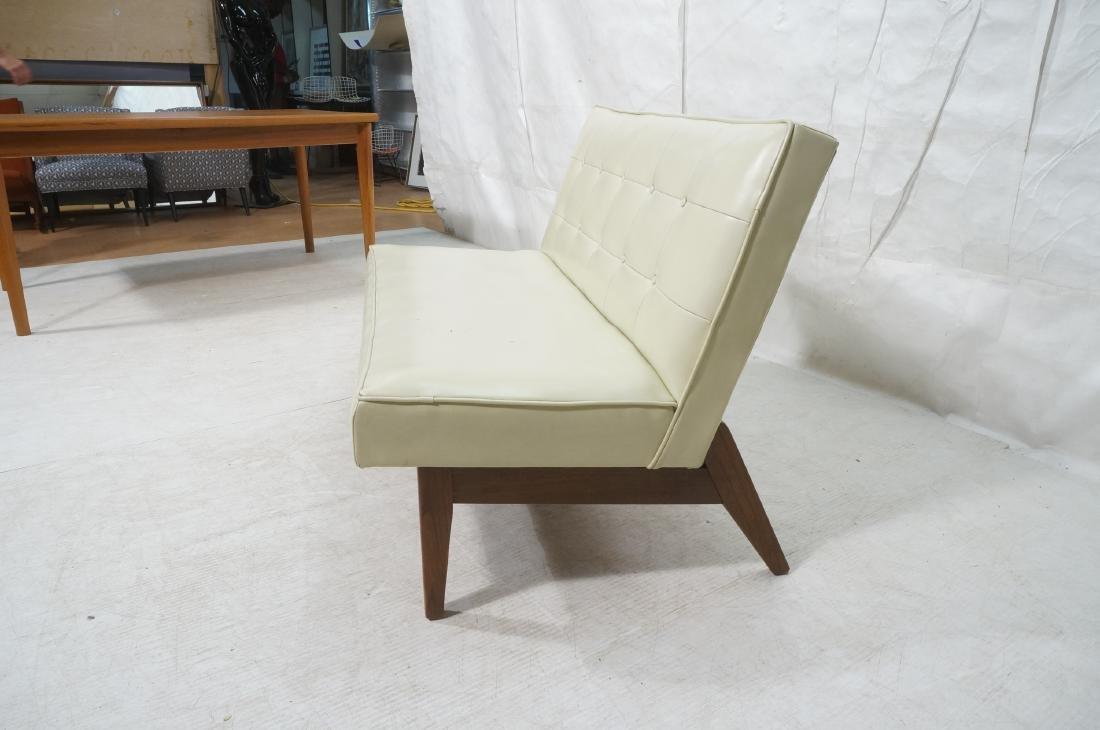 Off White Modernist Vinyl Walnut Bench Love Seat. - 3