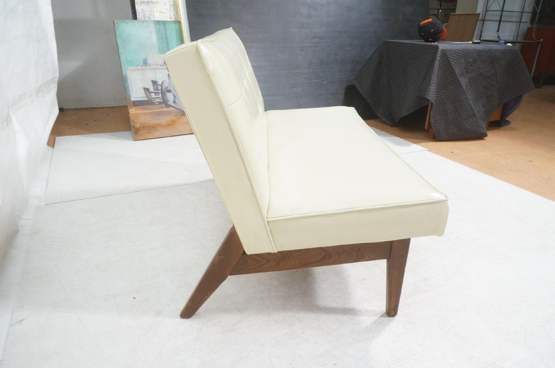 Off White Modernist Vinyl Walnut Bench Love Seat. - 5