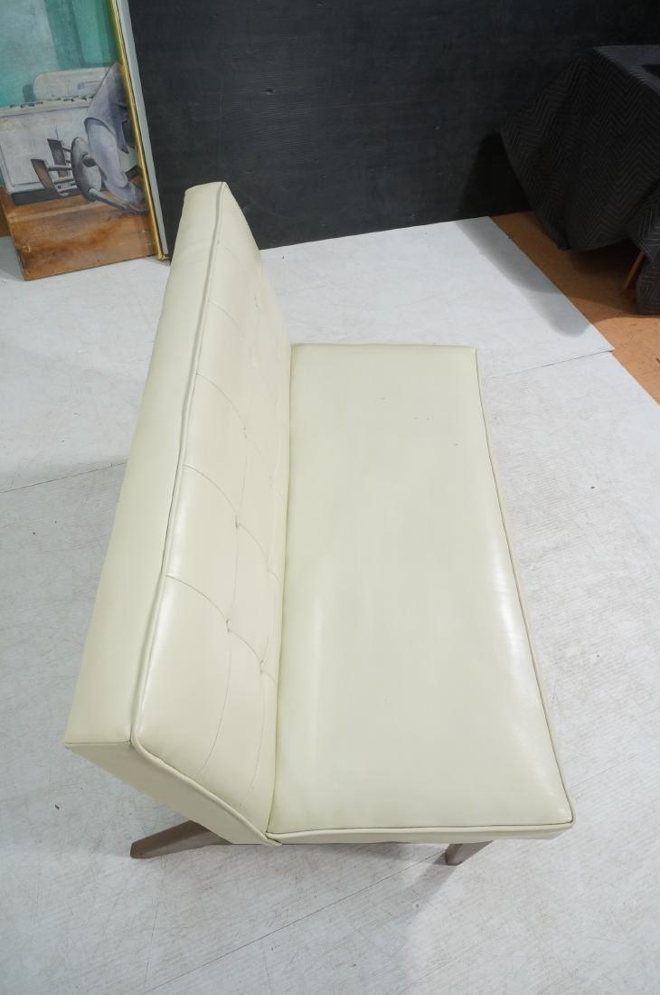 Off White Modernist Vinyl Walnut Bench Love Seat. - 6
