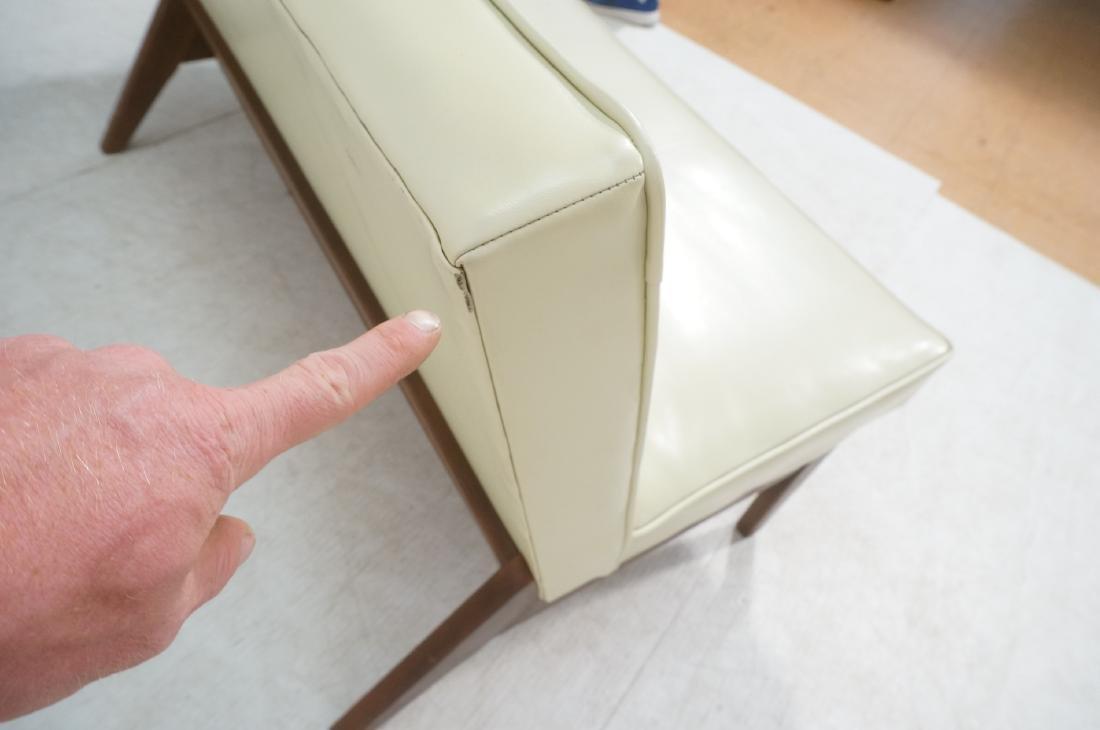 Off White Modernist Vinyl Walnut Bench Love Seat. - 7