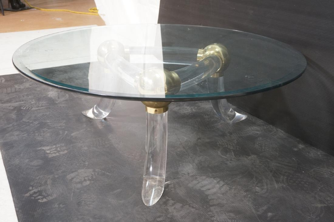 Round Glass Lucite Metal Base Cocktail Table. 3 f - 4