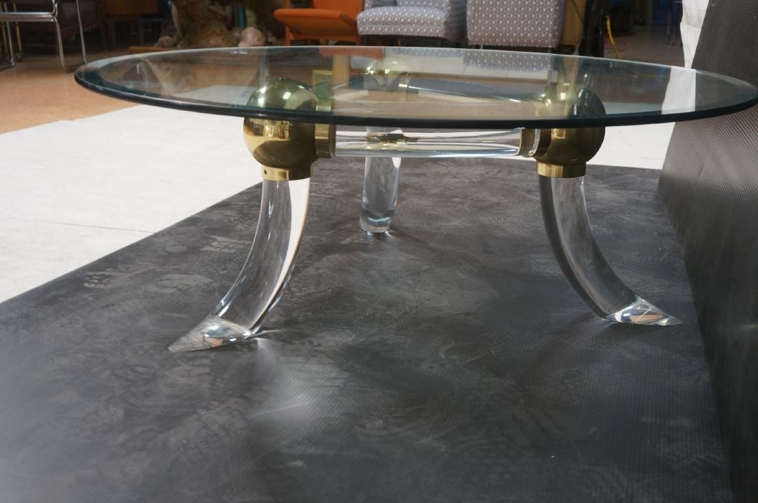 Round Glass Lucite Metal Base Cocktail Table. 3 f - 5