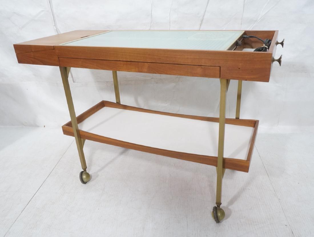 American Modern  Brass Frame Rolling Bar Cart. Fl