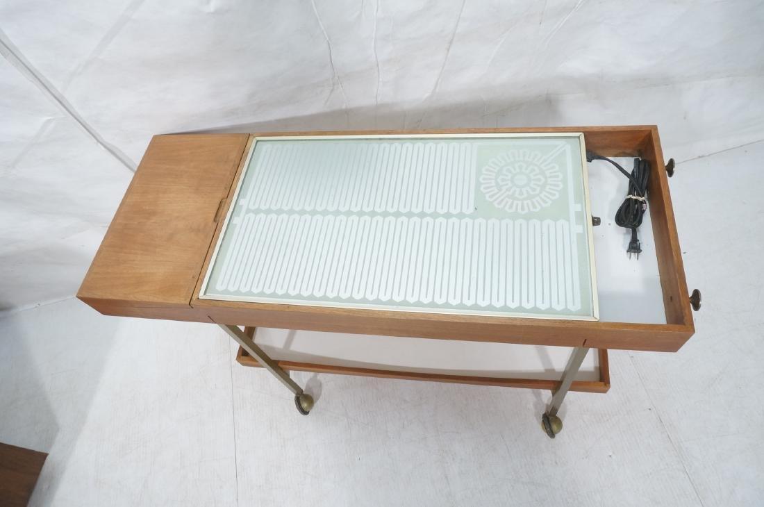American Modern  Brass Frame Rolling Bar Cart. Fl - 2