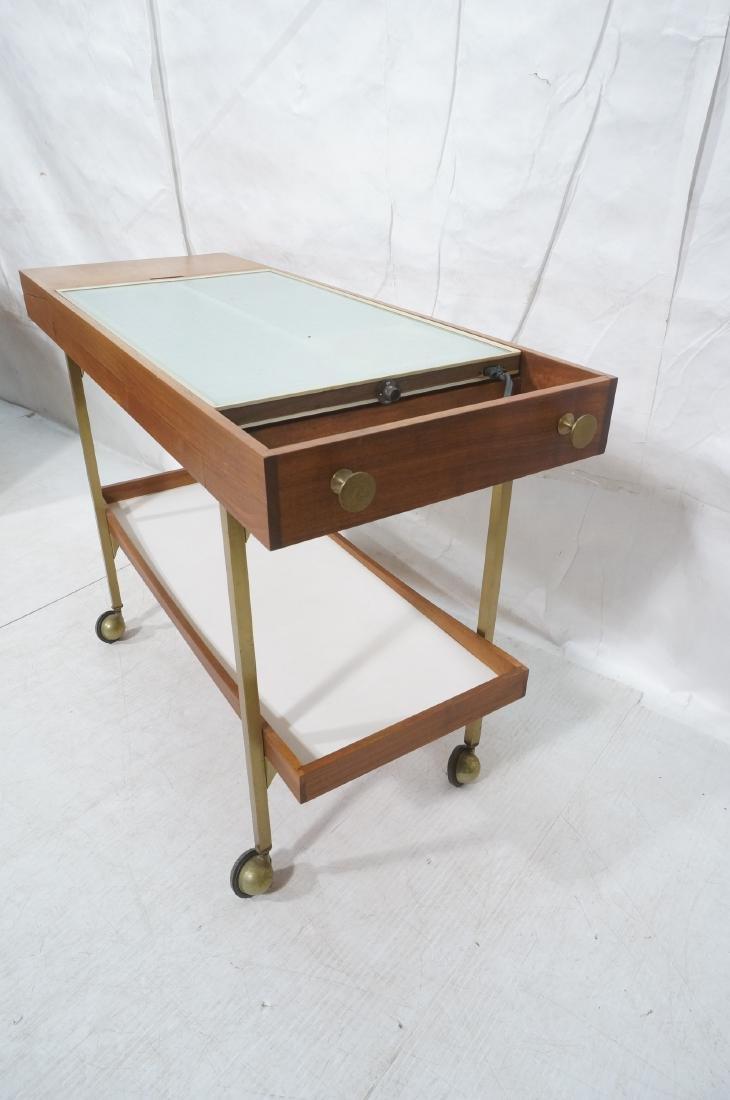 American Modern  Brass Frame Rolling Bar Cart. Fl - 3
