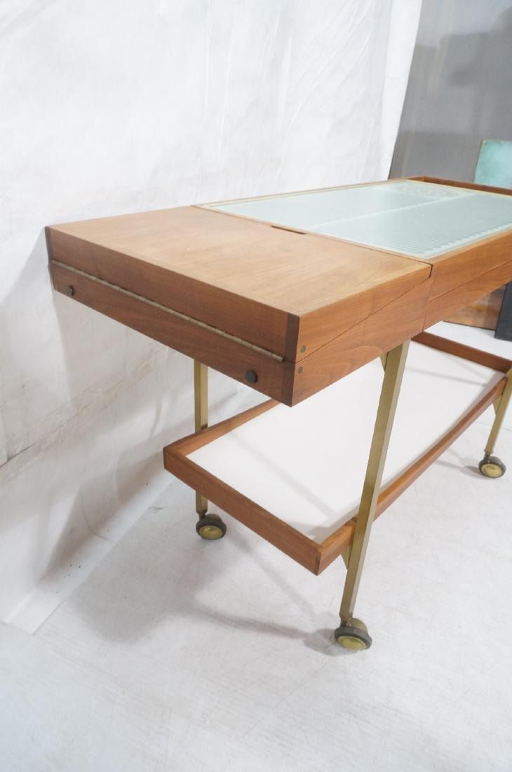 American Modern  Brass Frame Rolling Bar Cart. Fl - 4