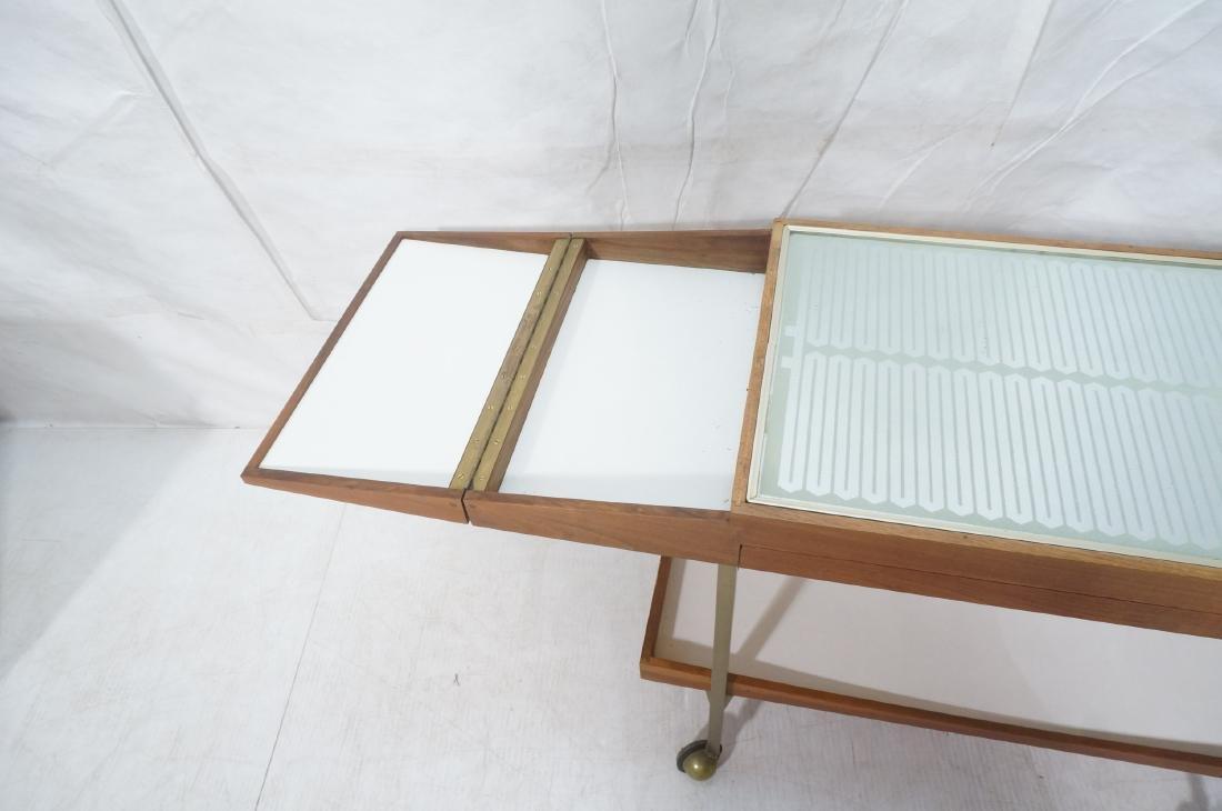 American Modern  Brass Frame Rolling Bar Cart. Fl - 5