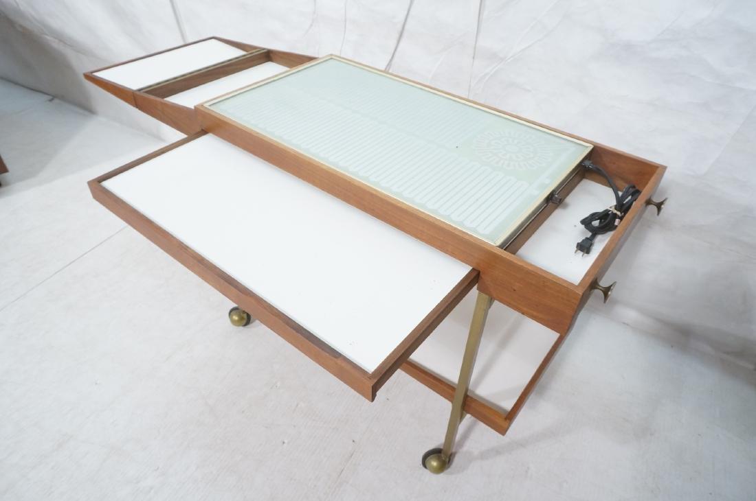 American Modern  Brass Frame Rolling Bar Cart. Fl - 6