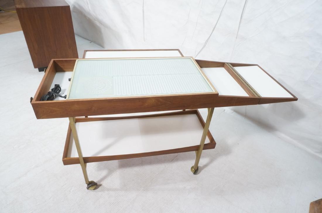 American Modern  Brass Frame Rolling Bar Cart. Fl - 7