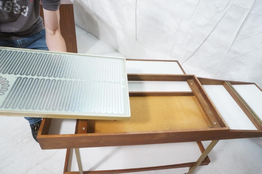 American Modern  Brass Frame Rolling Bar Cart. Fl - 8