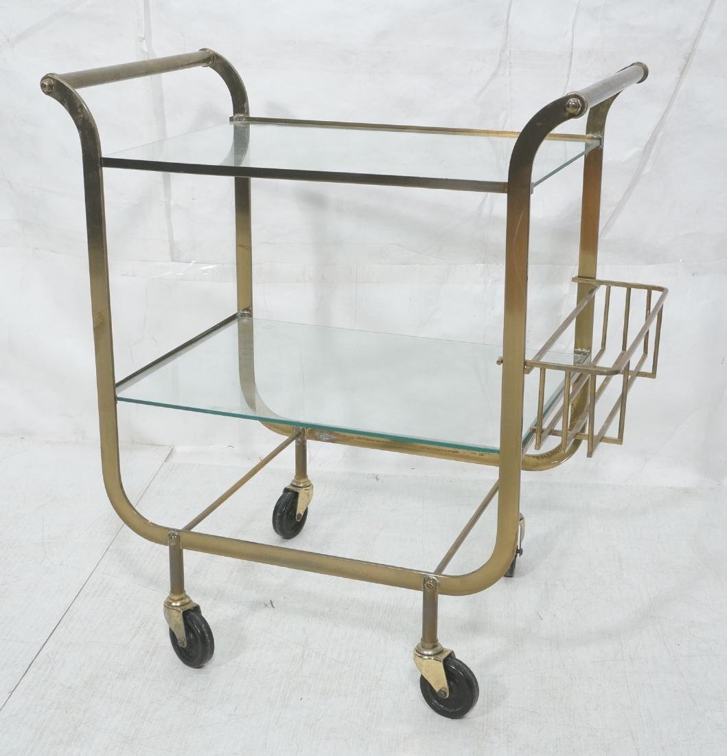 Italian style Rolling Solid Brass Bar Cart. Two l
