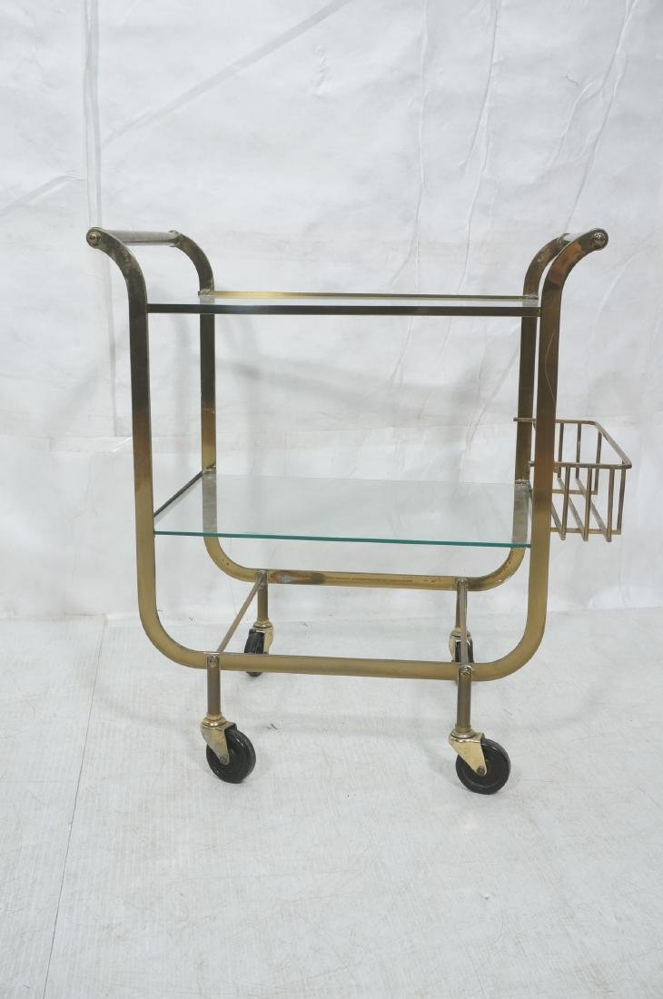 Italian style Rolling Solid Brass Bar Cart. Two l - 2