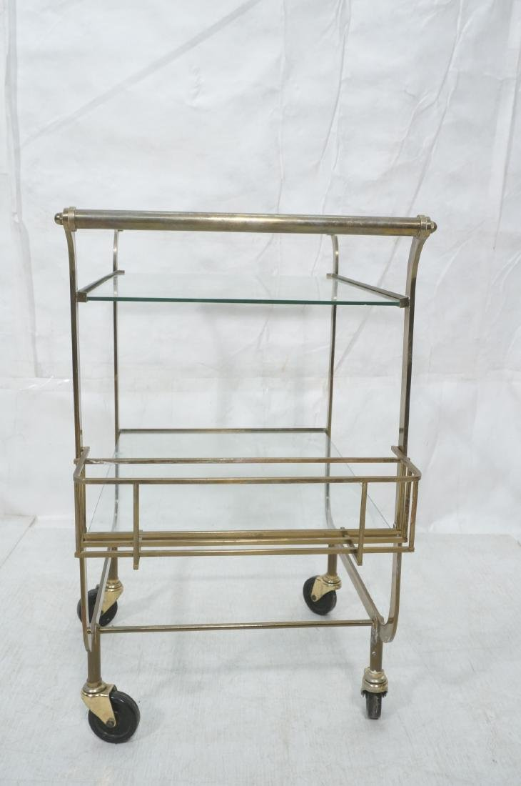 Italian style Rolling Solid Brass Bar Cart. Two l - 3