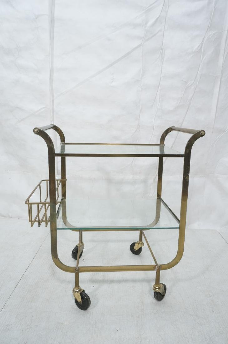 Italian style Rolling Solid Brass Bar Cart. Two l - 4