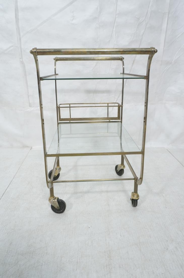 Italian style Rolling Solid Brass Bar Cart. Two l - 6