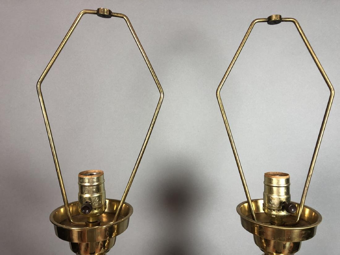 Pr Tall Brass Decorator Table Lamps. Asian Style. - 2