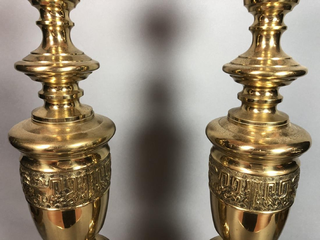 Pr Tall Brass Decorator Table Lamps. Asian Style. - 3