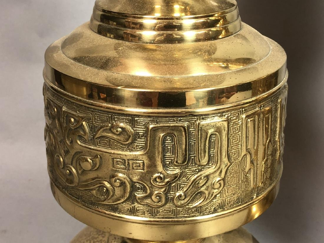 Pr Tall Brass Decorator Table Lamps. Asian Style. - 7