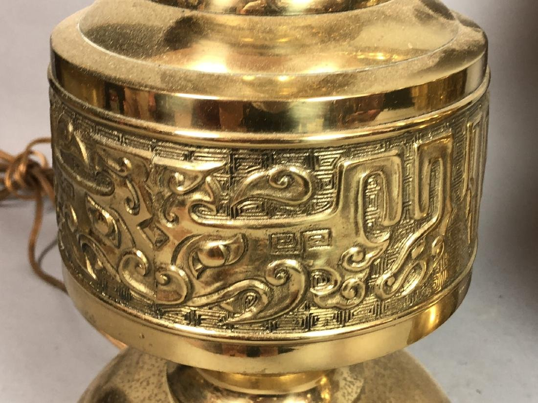 Pr Tall Brass Decorator Table Lamps. Asian Style. - 8
